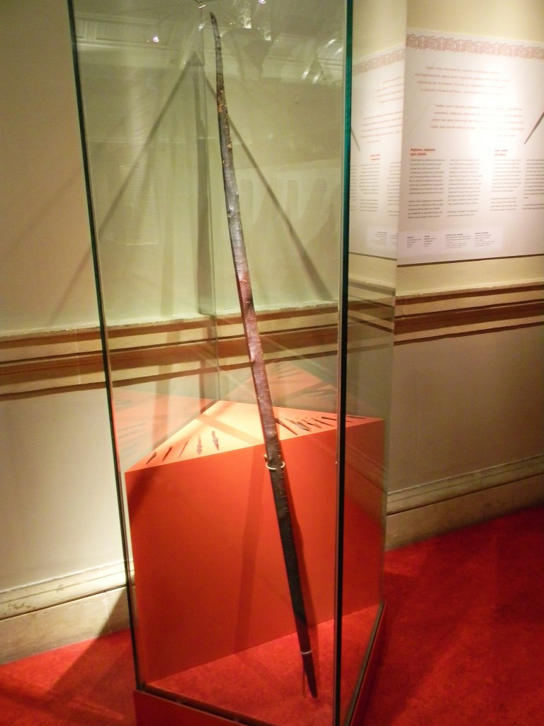 Viking era longbow on display in the National Museum of Ireland in Dublin.